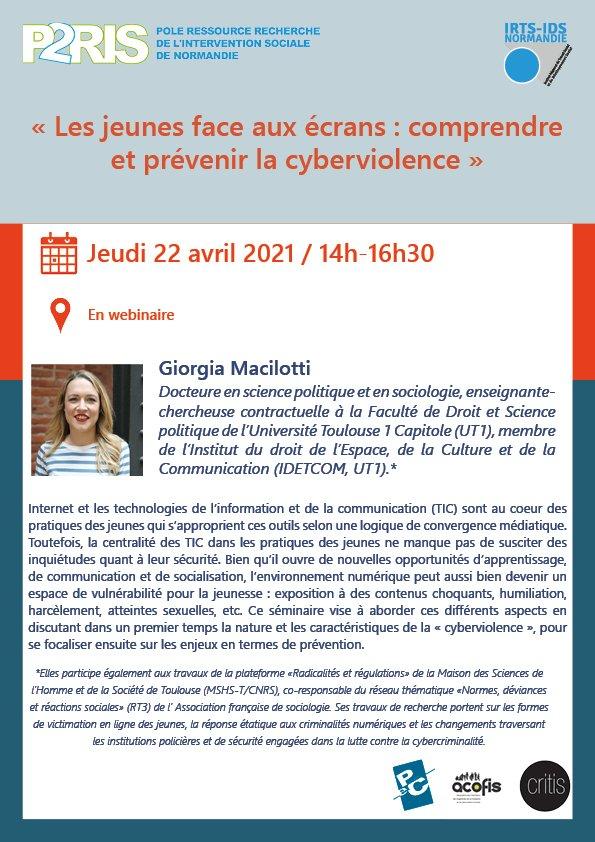 22 avril 2021 – Webinaire P2RIS «Les jeunes face aux écrans : comprendre et prévenir la cyberviolence»