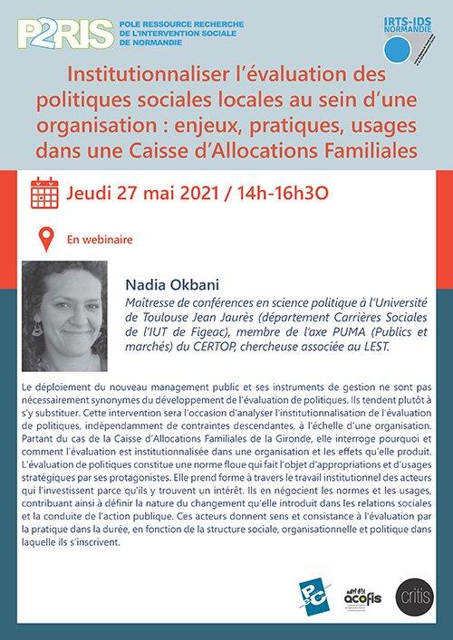 27 mai 2021 – Webinaire P2RIS «Institutionnaliser l'évaluation des politiques sociales locales au sein d'une organisation : enjeux, pratiques, usages dans une Caisse d'Allocations Familiales»